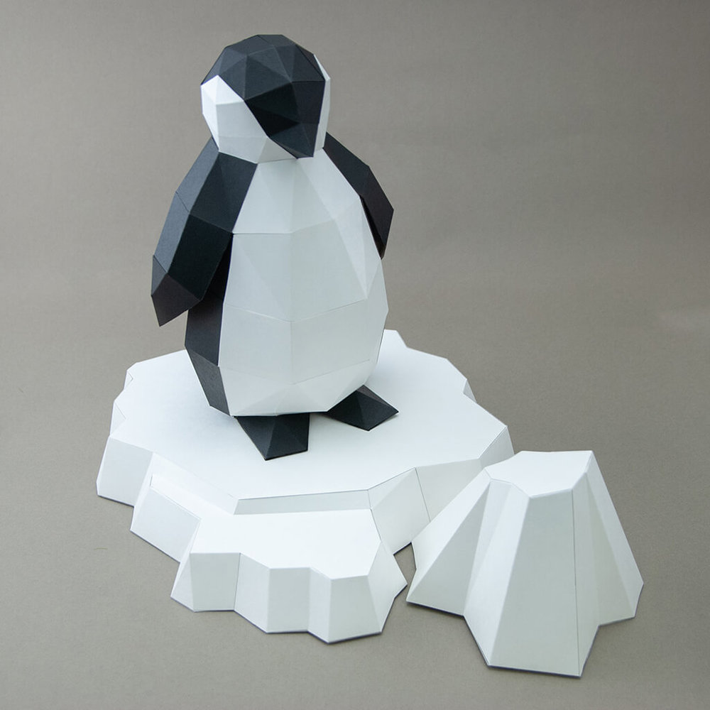 問創 Ask Creative|DIY手作3D紙模型擺飾 小動物系列 - 極地企鵝寶寶+加購冰山
