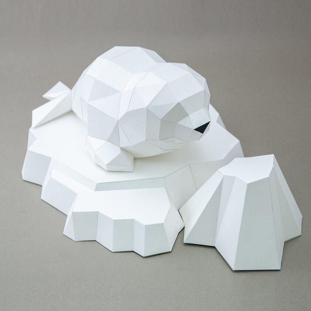 問創 Ask Creative|DIY手作3D紙模型擺飾 小動物系列 - 湯圓小海豹+加購冰山