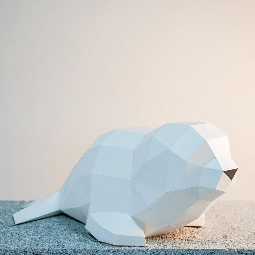 問創 Ask Creative DIY手作3D紙模型擺飾 小動物系列 - 湯圓小海豹
