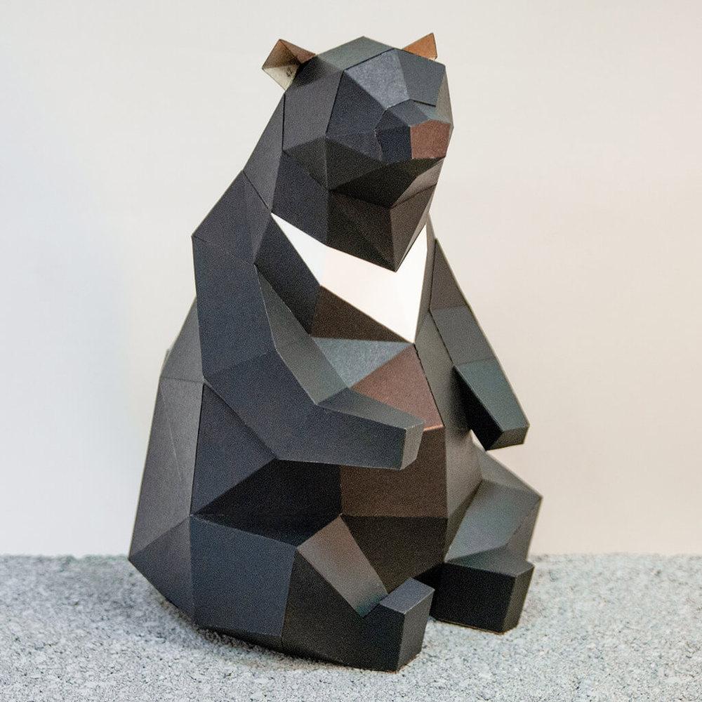 問創 Ask Creative|DIY手作3D紙模型擺飾 小動物系列 - 肥壯壯台灣黑熊