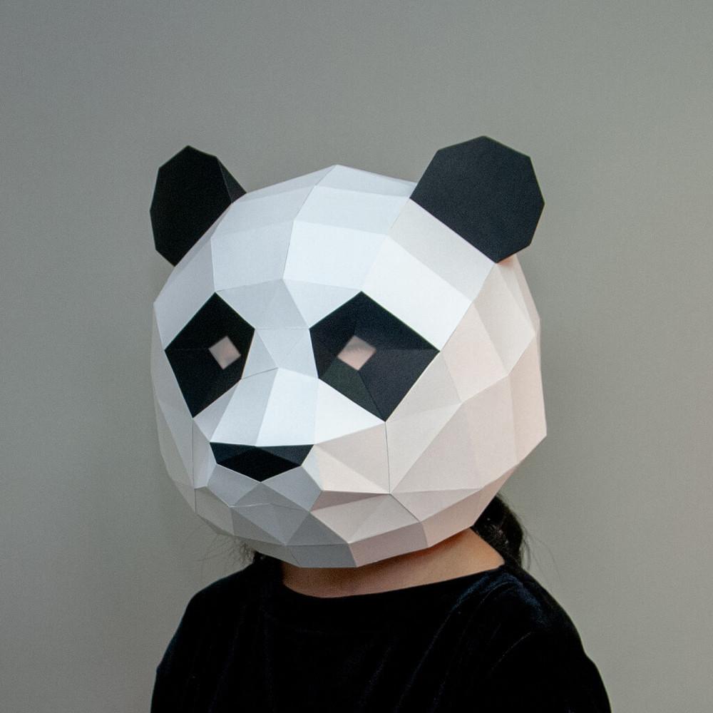 問創 Ask Creative|DIY手作3D紙模型擺飾 面具系列 - 熊貓/貓熊面具 (大人款)
