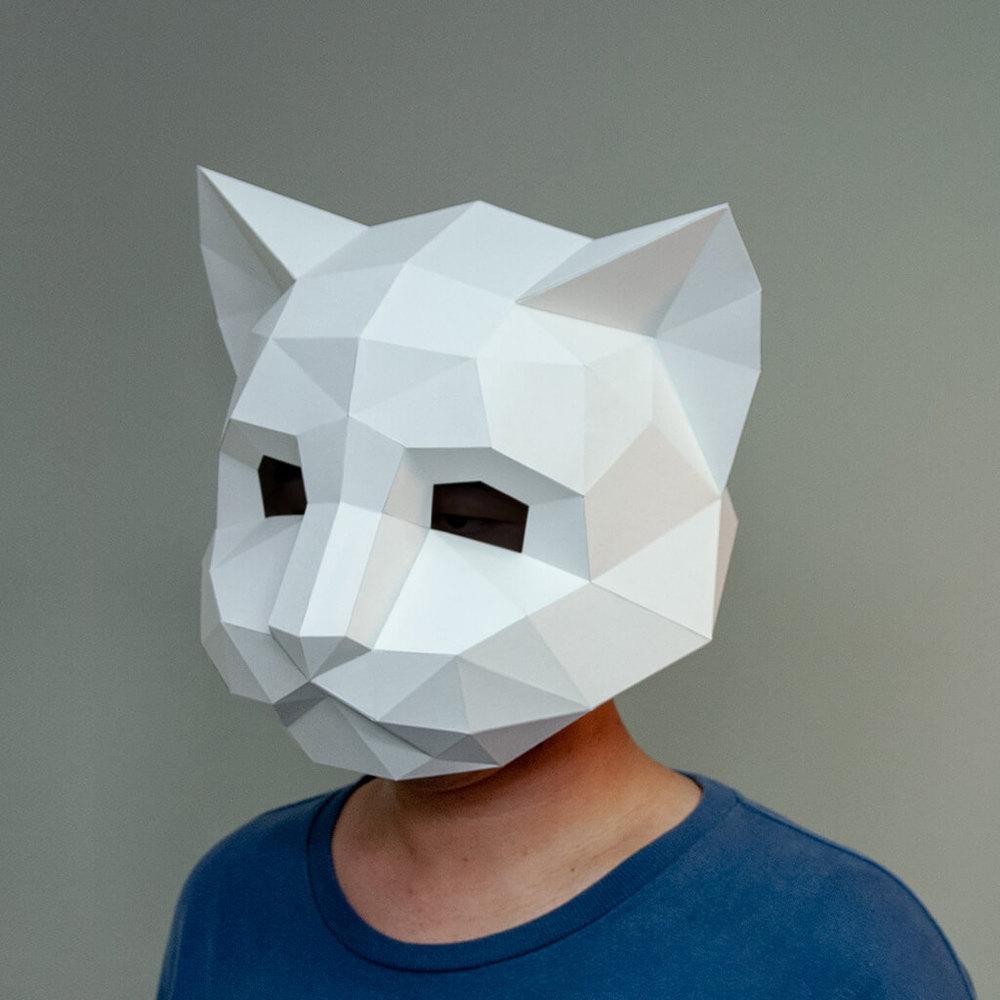 問創 Ask Creative|DIY手作3D紙模型擺飾 面具系列 - 貓咪面具 (大人款) (4色可選)