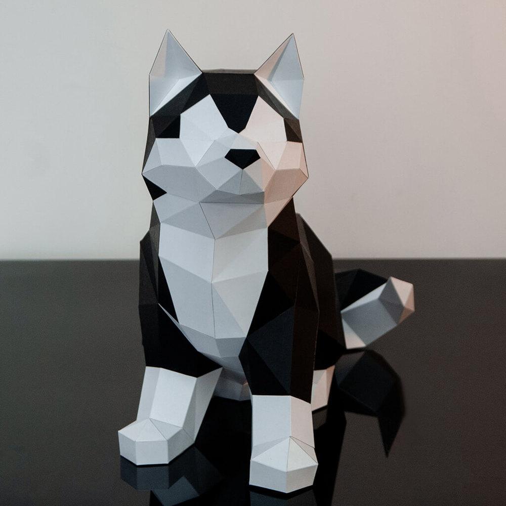 問創 Ask Creative|DIY手作3D紙模型擺飾 狗狗系列 - 搗蛋呆萌哈士奇  (4色可選)