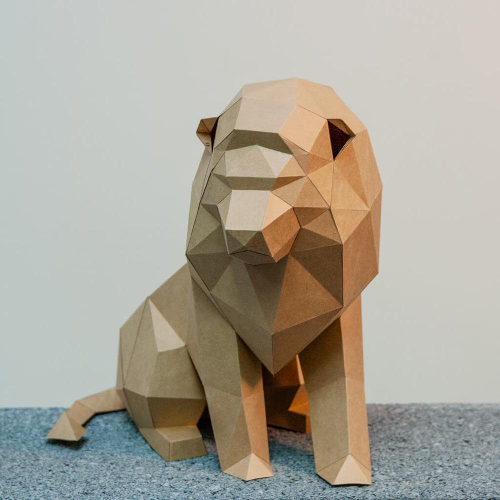 問創 Ask Creative|DIY手作3D紙模型擺飾 小動物系列 - 萬獸之王獅子 (4色可選)