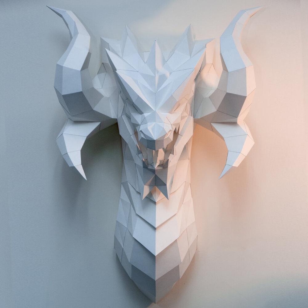 問創 Ask Creative|DIY手作3D紙模型壁飾 掛飾 奇幻系列 - 巨龍壁飾
