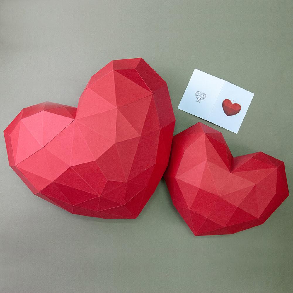 問創 Ask Creative|DIY手作3D紙模型 禮物 壁飾 掛飾 節慶系列 - 大/小愛心組合 (附小卡片)