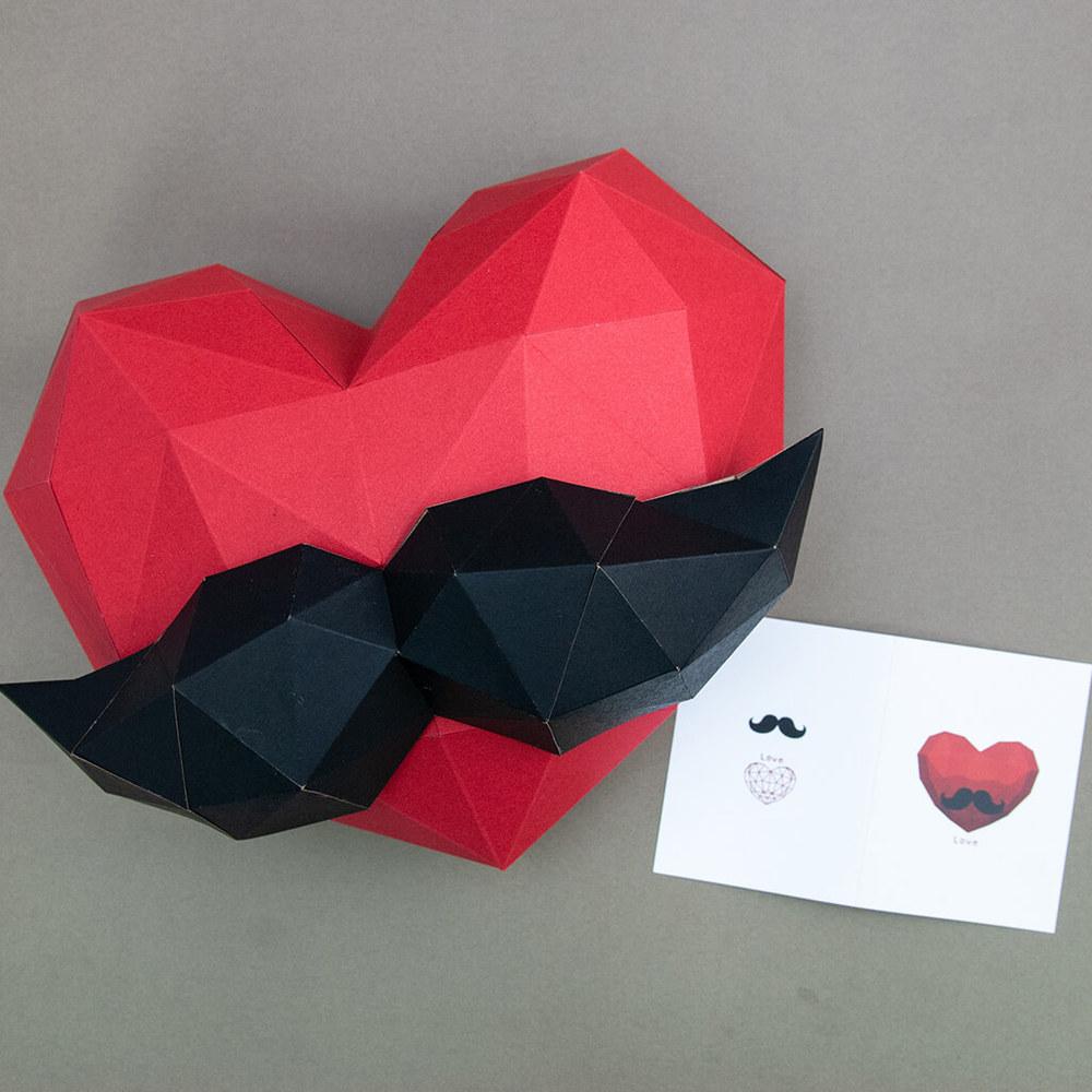 問創 Ask Creative DIY手作3D紙模型 禮物 掛飾 節慶系列 - 小愛心鬍子組合 (附小卡片)