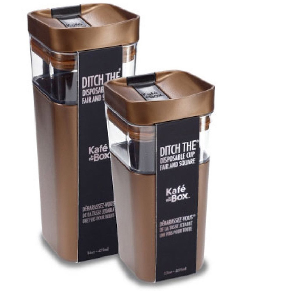 加拿大kafe in the box|時尚雙層隔熱分享咖啡杯355ml-伯朗色