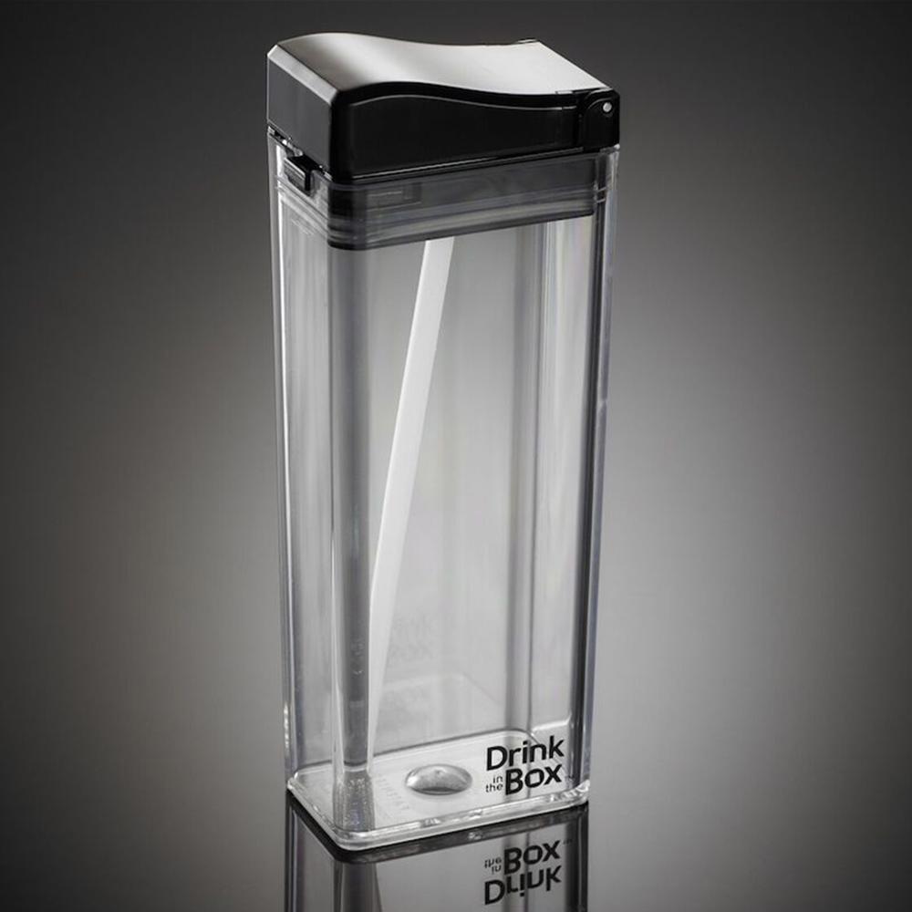 加拿大 Drink in the box|時尚戶外吸管水杯355ml-透明黑