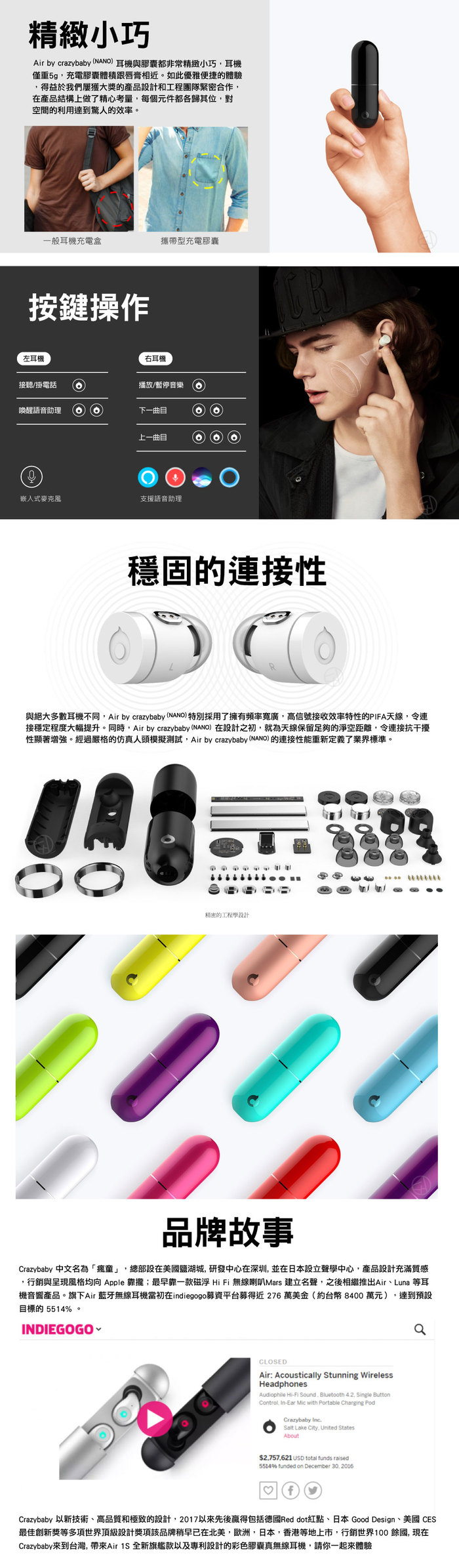 Crazybaby|Air Nano 彩色膠囊真無線耳機 - 黑