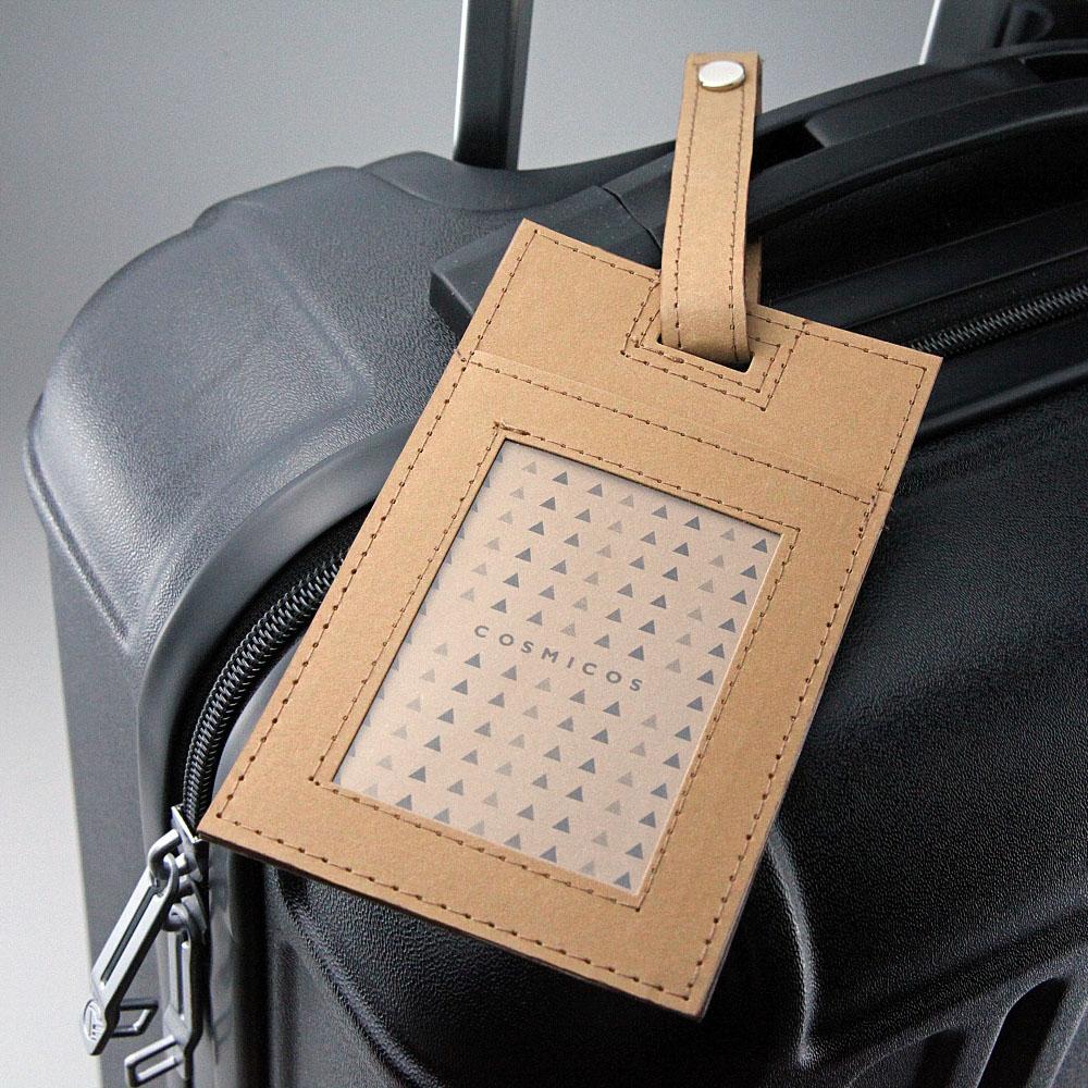 COSMICOS | 《經典素色》水洗牛皮識別證行李吊牌 2way兩用票夾