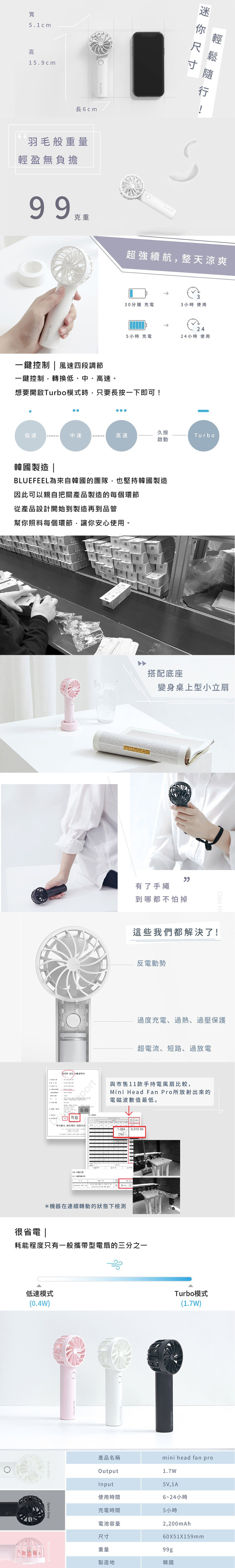 Bluefeel|USB韓國極輕手持強力小風扇(三色可選)