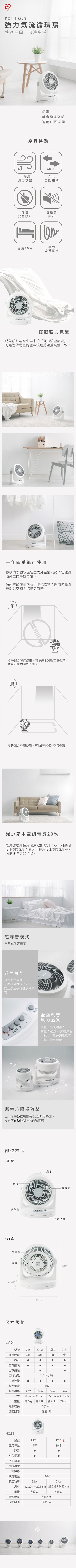 (複製)IRIS|PCFHD15 空氣循環扇(白)