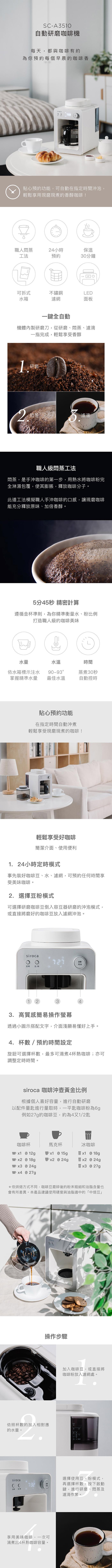 (複製)Siroca|自動研磨咖啡機 SC-A1210 完美白