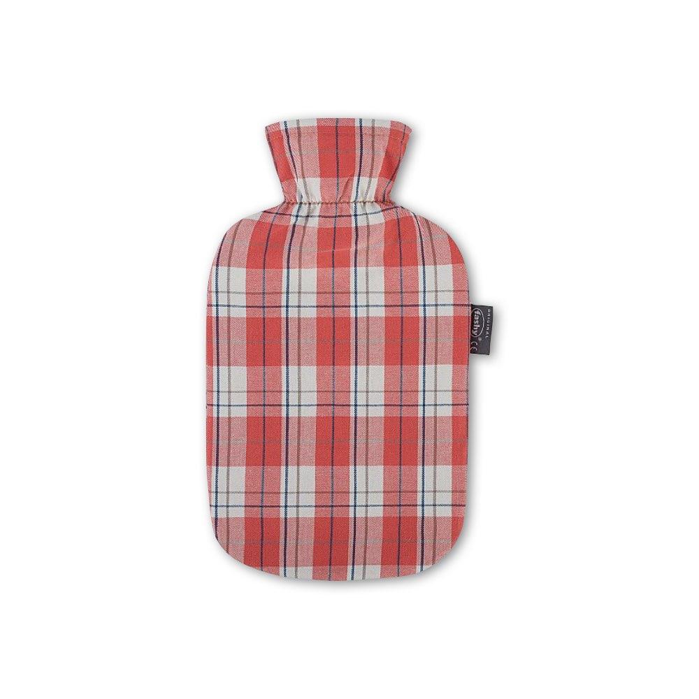 德國Fashy 原裝進口 新款經典格紋熱水袋 2.0L(紅色)