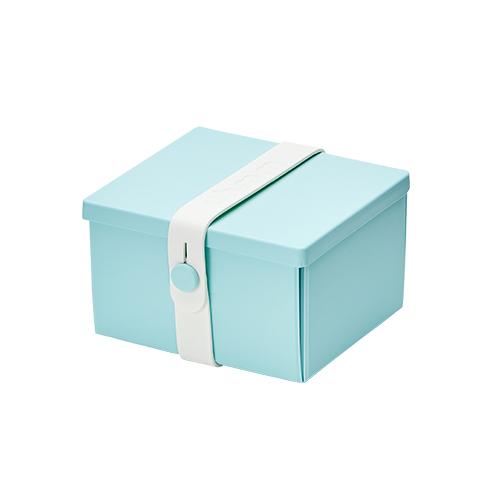 丹麥 uhmm|可折疊攤平式環保薄荷綠x白色扣環環保保鮮盒(840ml)