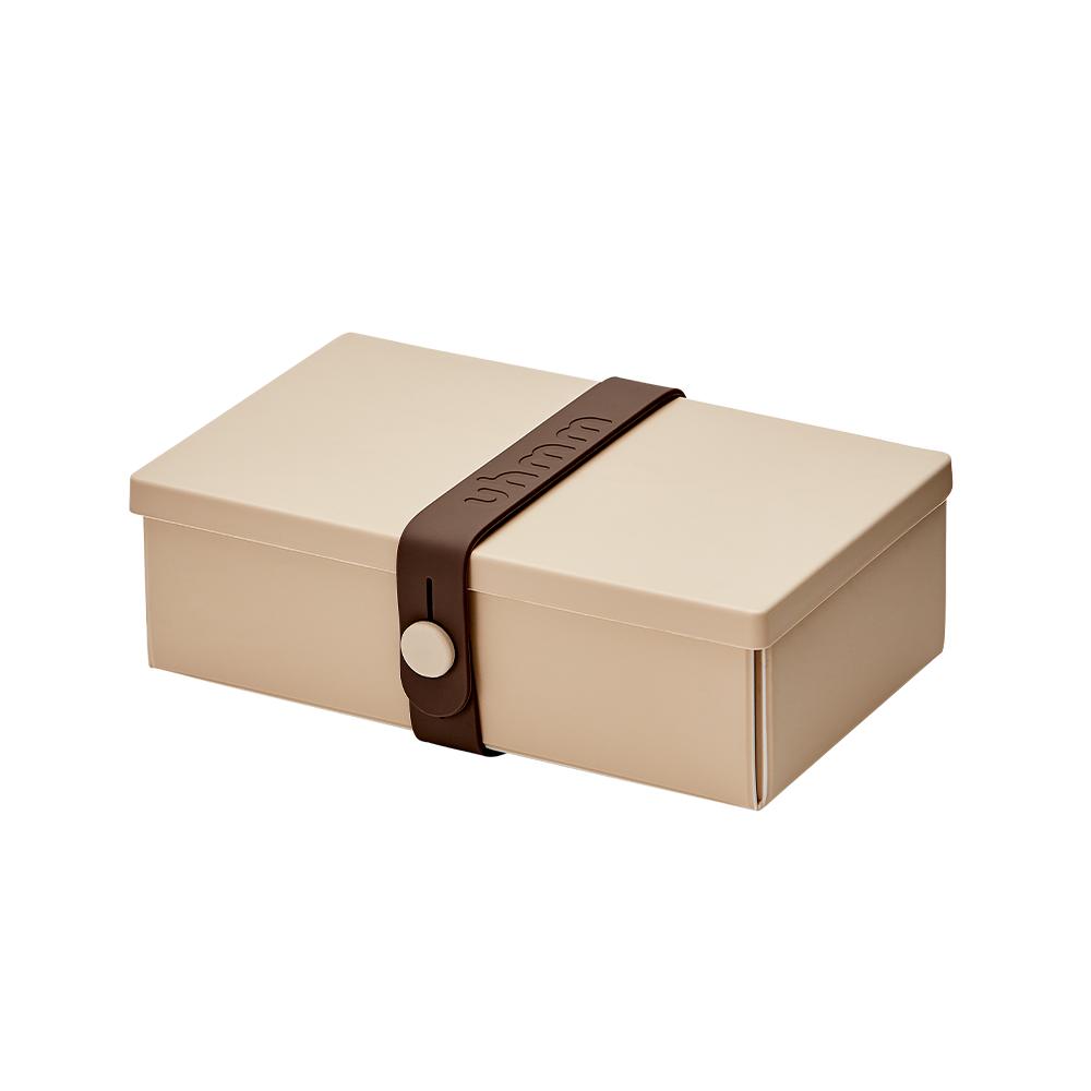 丹麥 uhmm|可折疊攤平式卡其x咖啡色扣環環保保鮮盒(900ml)