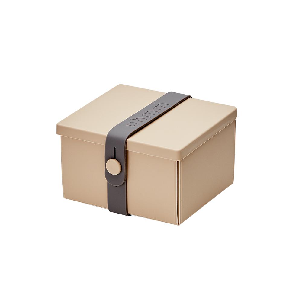 丹麥 uhmm|可折疊攤平式卡其x深灰色扣環環保保鮮盒(840ml)
