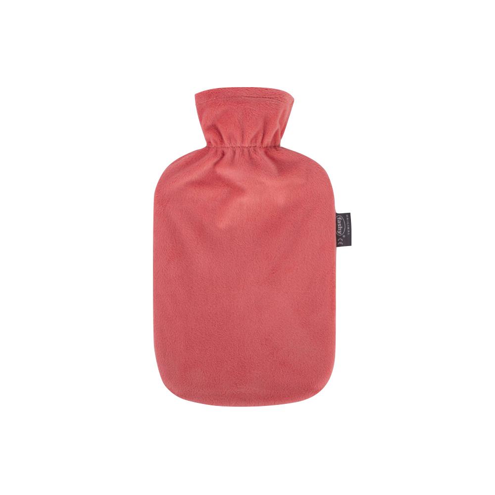 德國Fashy|原裝進口 經典高領絨布熱水袋 2.0L-珊瑚色