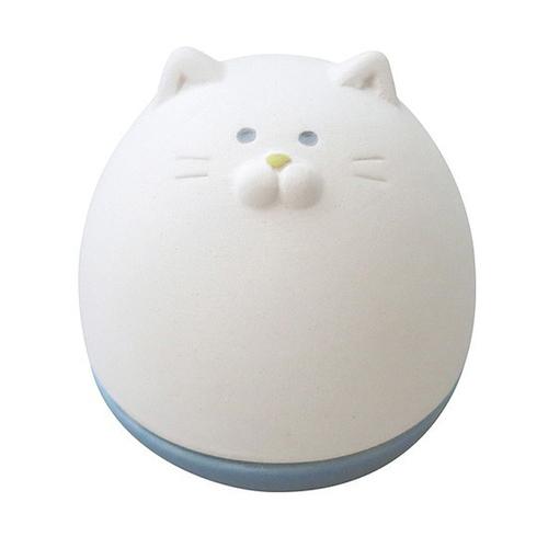 DECOLE|日本開運不倒翁陶偶薰香石-白貓
