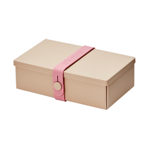 丹麥 uhmm|可折疊攤平式環卡其色x粉紅色扣環環保保鮮盒(900ml)
