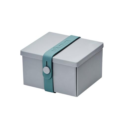 丹麥 uhmm|環保摺疊點心盒 (淺灰色餐盒 x 深綠色扣環)-840ml