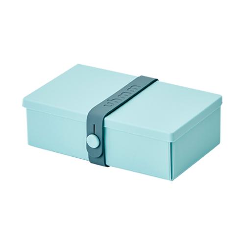 丹麥 uhmm|可折疊攤平式薄荷色x深綠色扣環環保保鮮盒(900ml)
