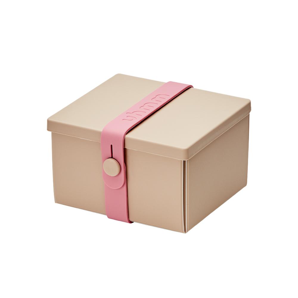 丹麥 uhmm|環保摺疊點心盒 (摩卡色餐盒 x 粉色扣環)-840ml