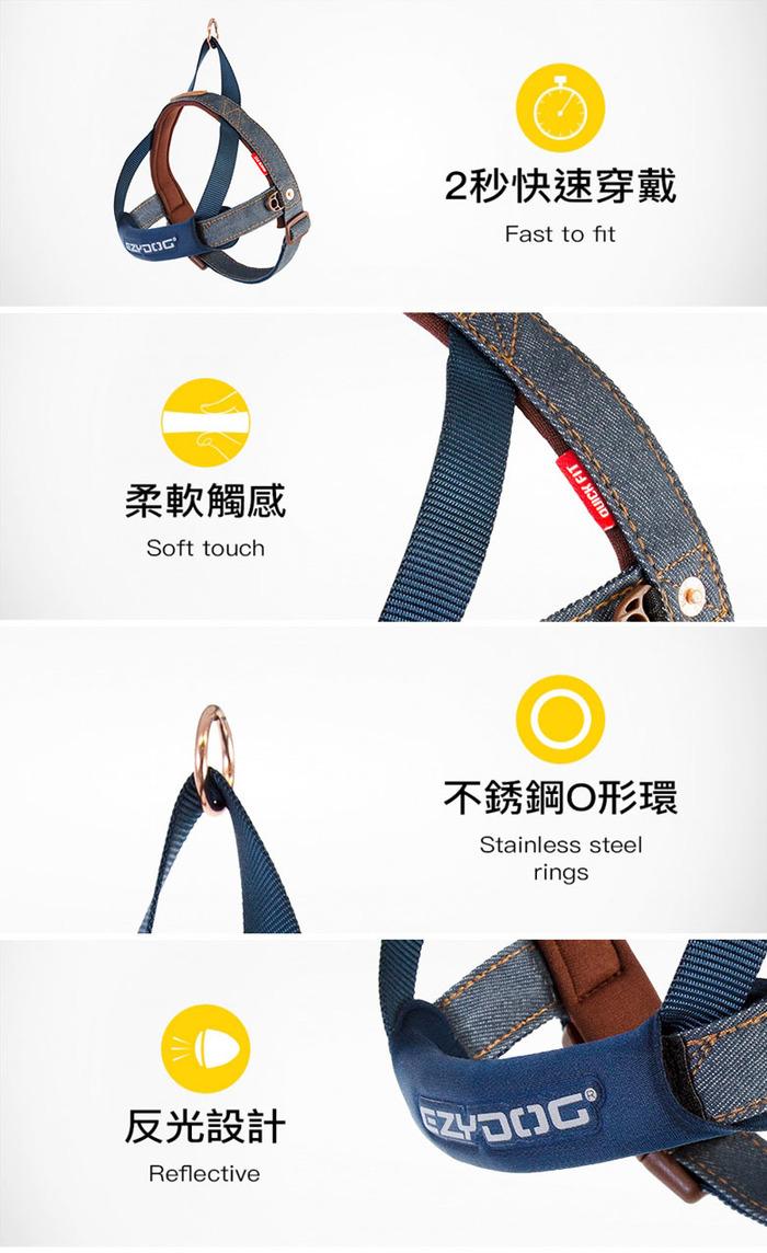 (複製)澳洲EZYDOG|快套式胸背帶 丹寧色 XXS