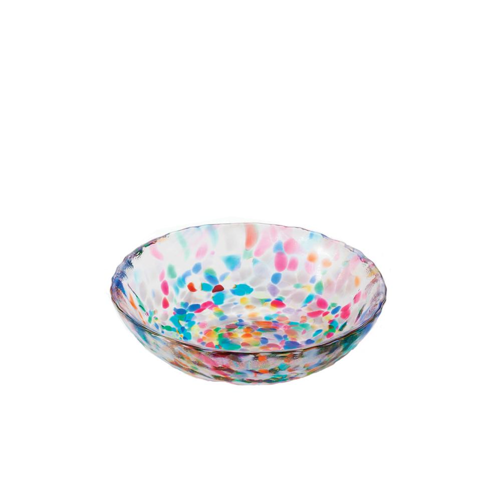 ADERIA|津輕系列手作繽紛睡魔淺玻璃碗(小)/1入