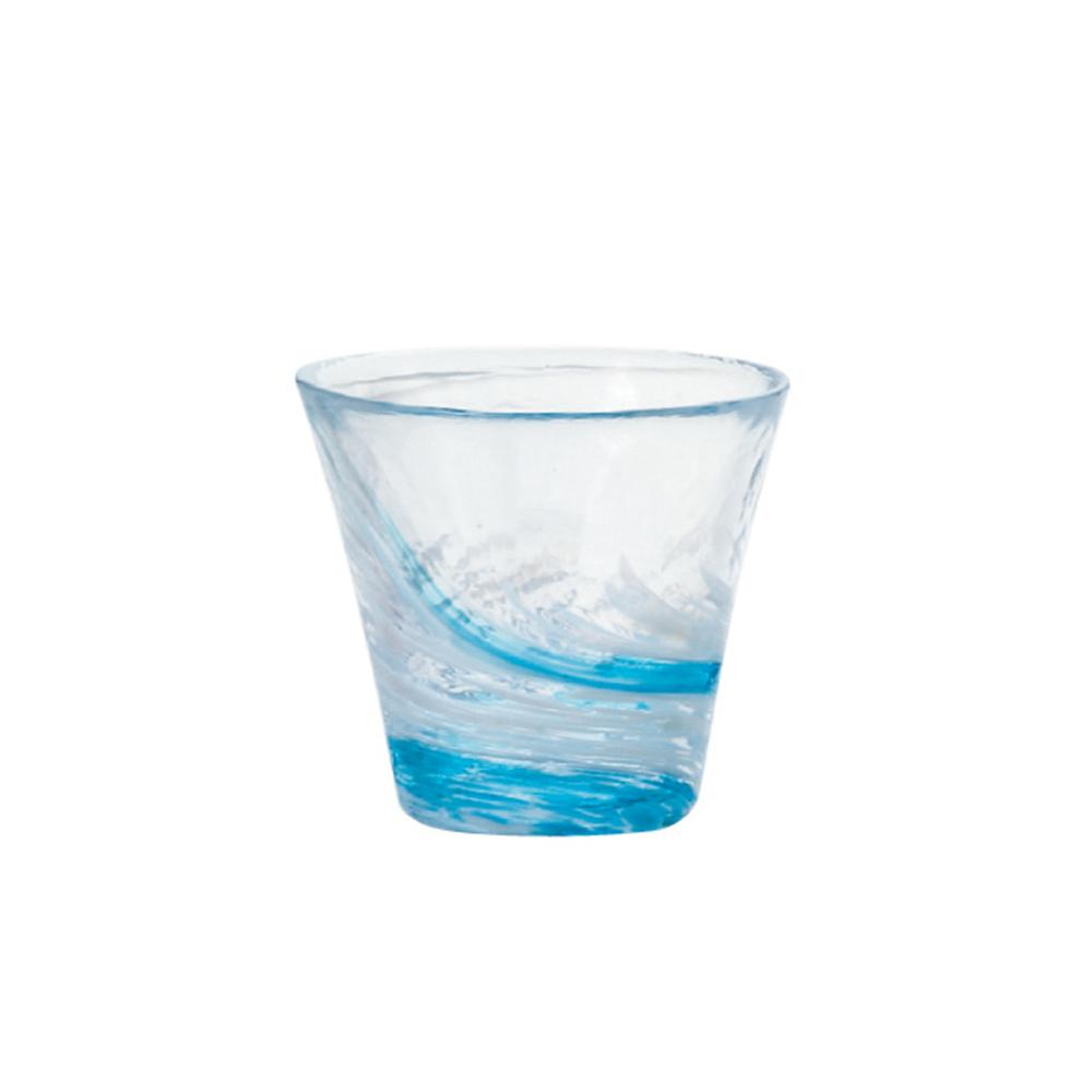 ADERIA|津輕系列手作藍水渦玻璃水杯(小)/1入