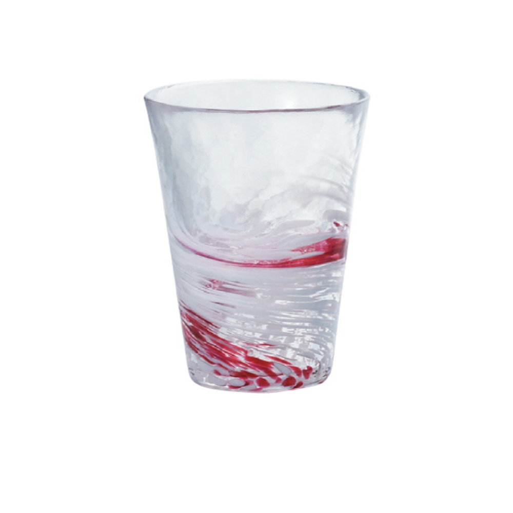 ADERIA|津輕系列手作紅水渦玻璃水杯(大)/1入