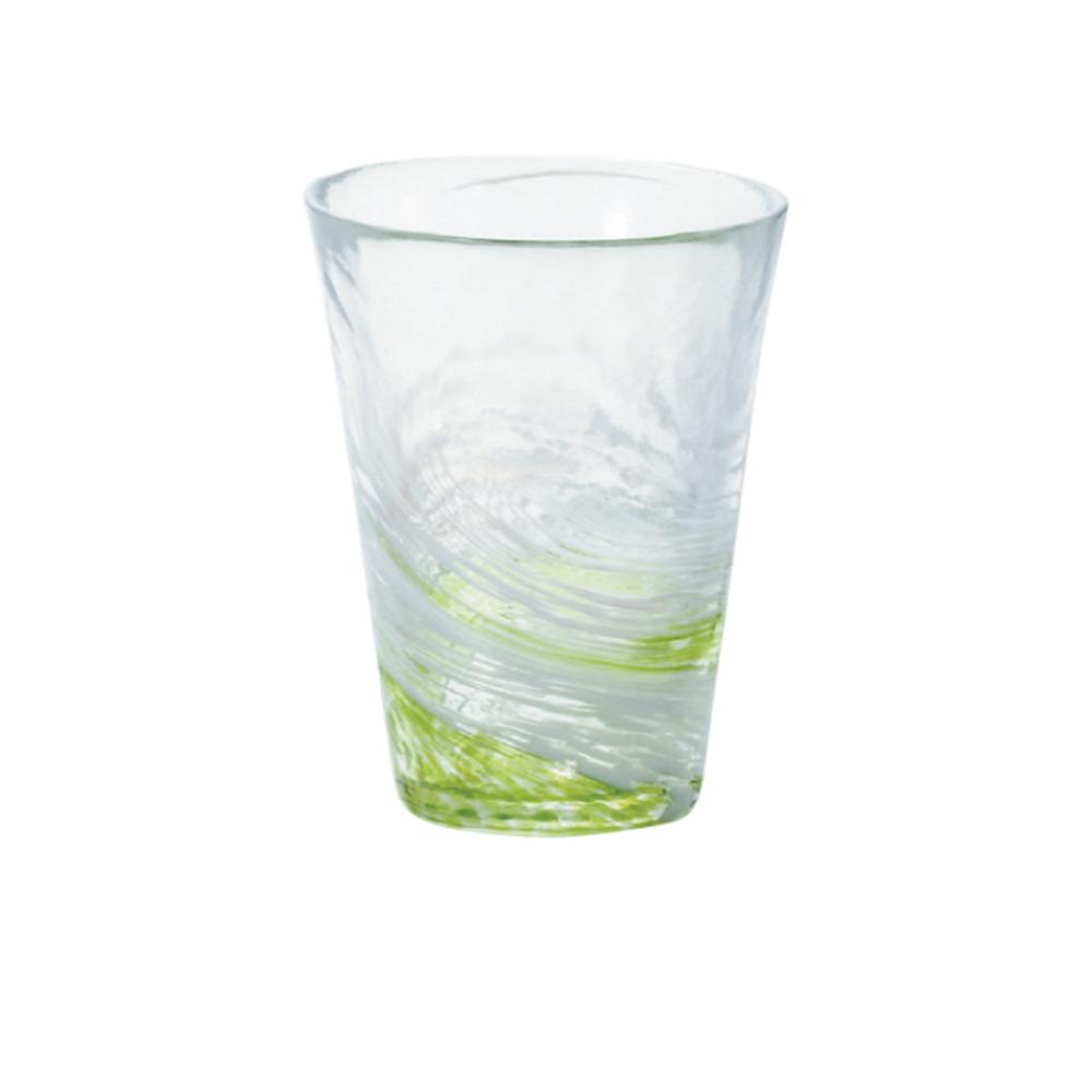 ADERIA|津輕系列手作綠水渦玻璃水杯(大)/1入