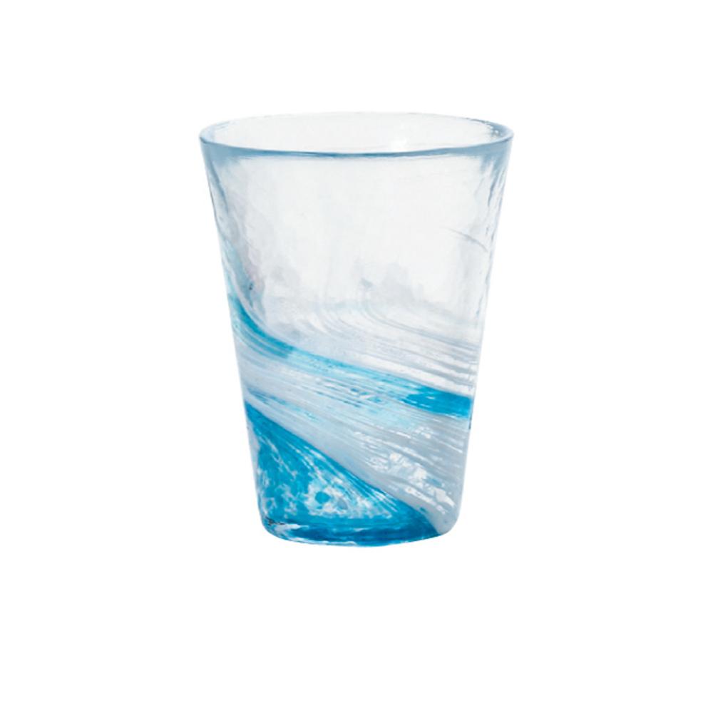 ADERIA|津輕系列手作藍水渦玻璃水杯(大)/1入