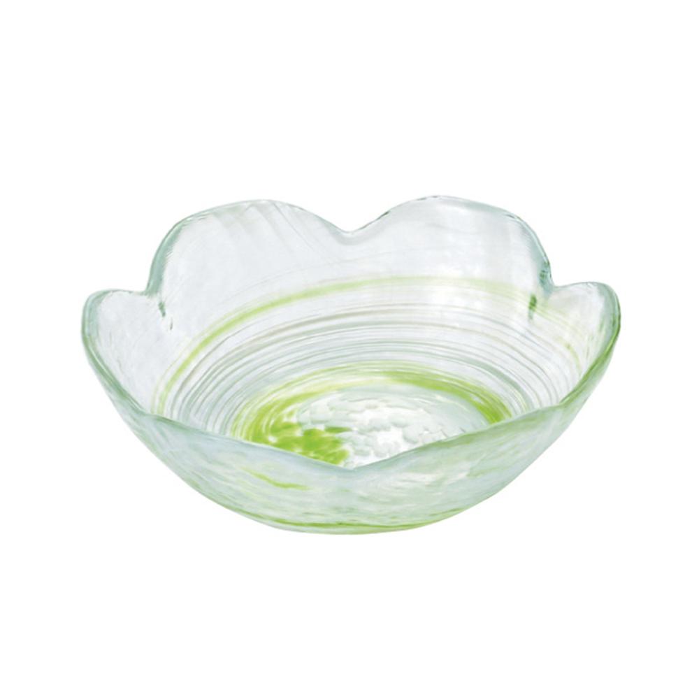 ADERIA|津輕系列手作綠色水渦花朵造型玻璃碗/1入