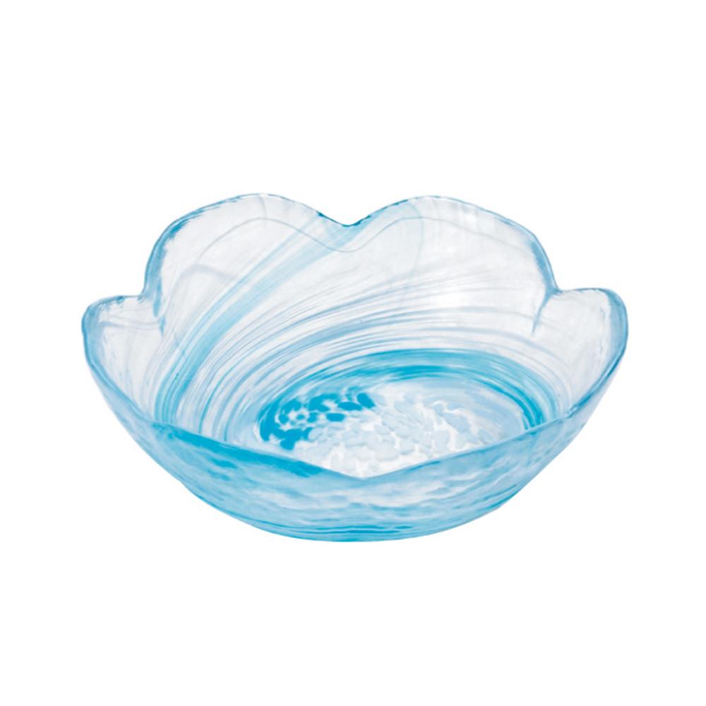 ADERIA|津輕系列手作藍色水渦花朵造型玻璃碗/1入
