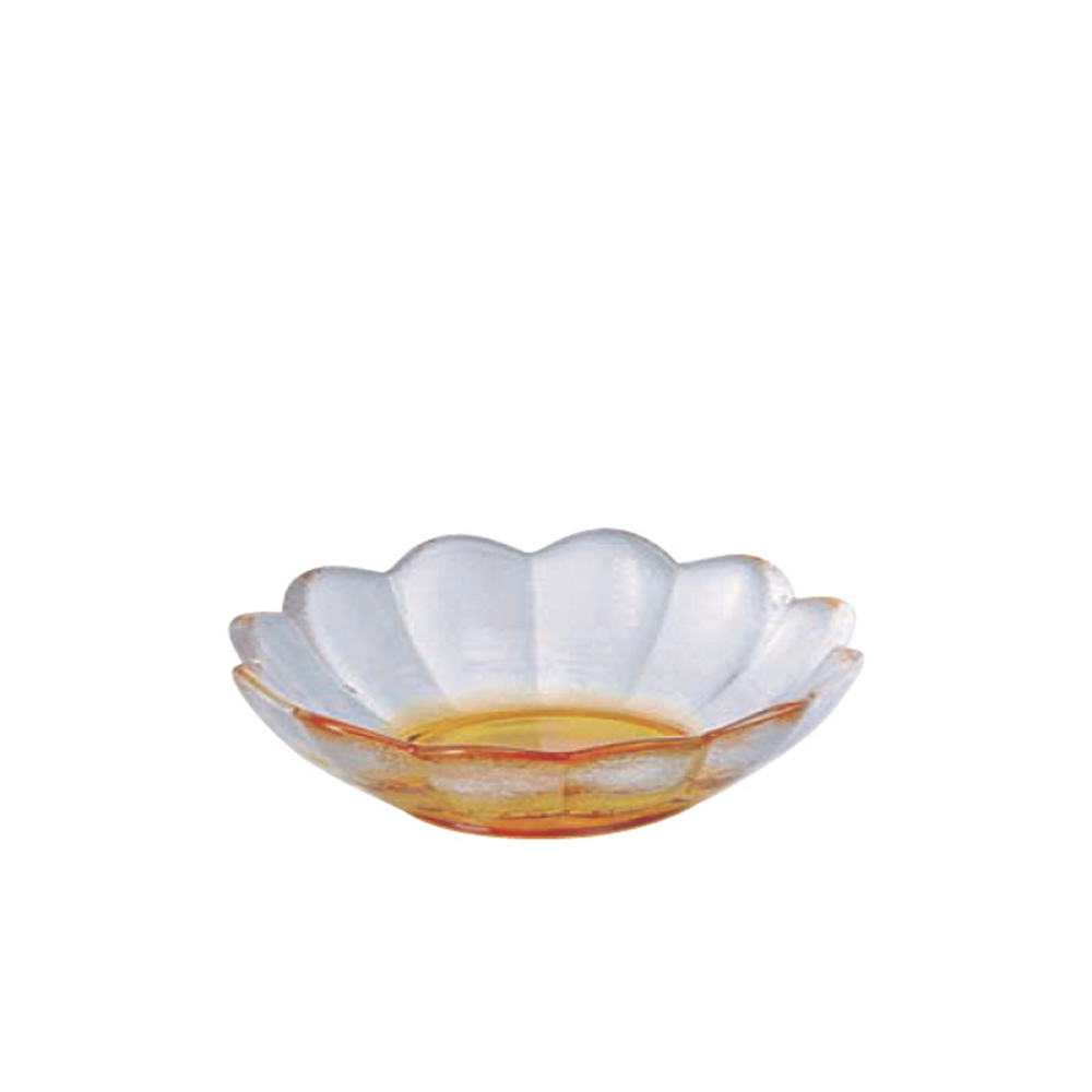 ADERIA|津輕系列手作黃色彩潤蓮花造型玻璃碗/1入