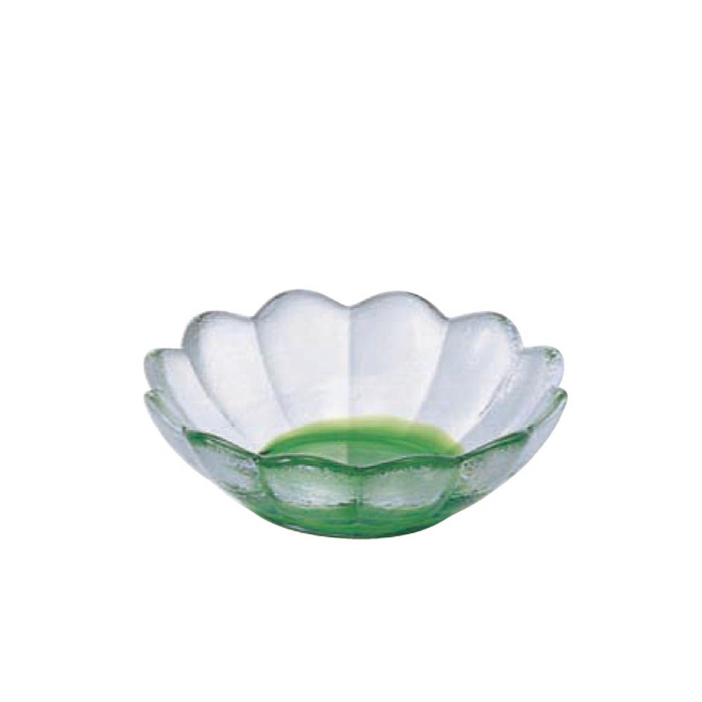 ADERIA|津輕系列手作綠色彩潤蓮花造型玻璃碗/1入