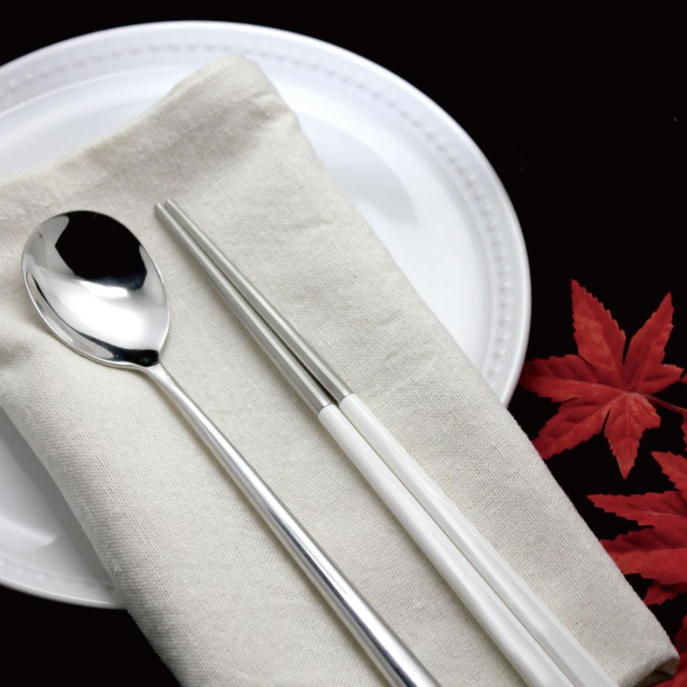 台箸 KUAI ZHU|不鏽鋼四角嵌合筷匙餐具組 純淨白