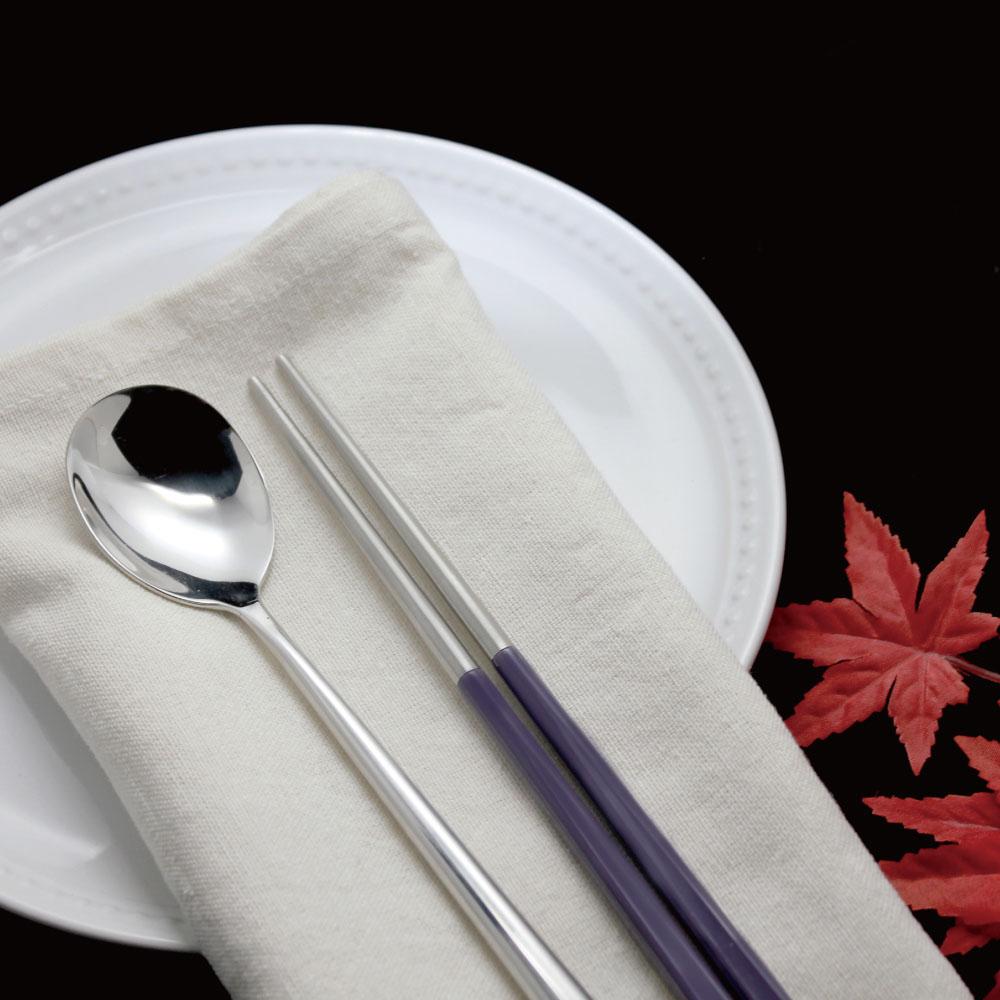 台箸 KUAI ZHU|不鏽鋼四角嵌合筷匙餐具組 優雅紫