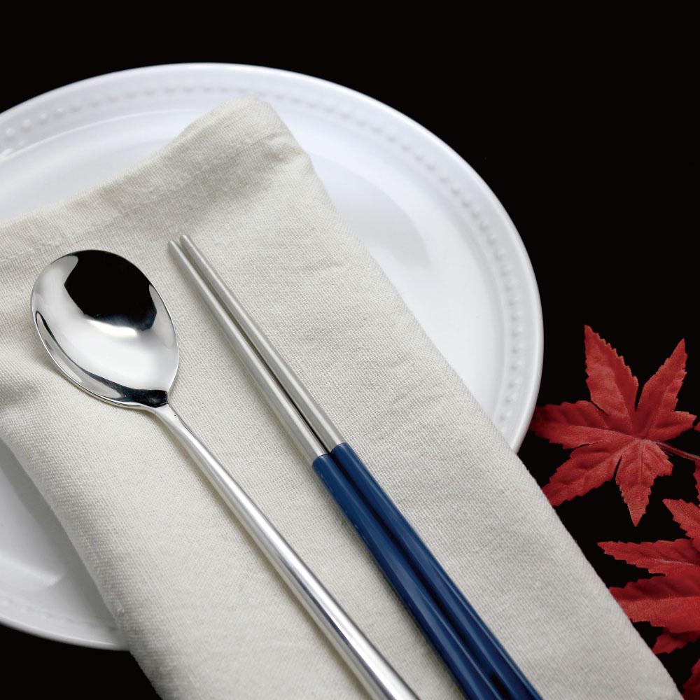 台箸 KUAI ZHU 不鏽鋼四角嵌合筷匙餐具組 文青藍