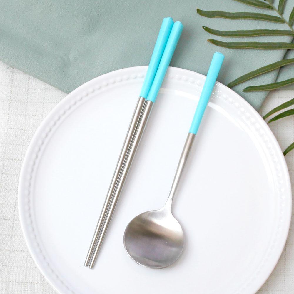 台箸 KUAI ZHU|不銹鋼餐具組花瓣1組入-天空青