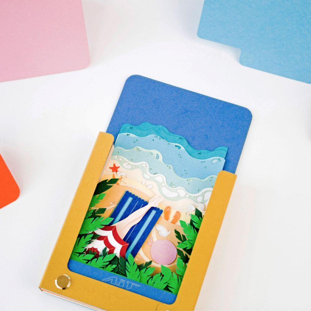 AiT Studio|立體紙雕記事本 假日海灘