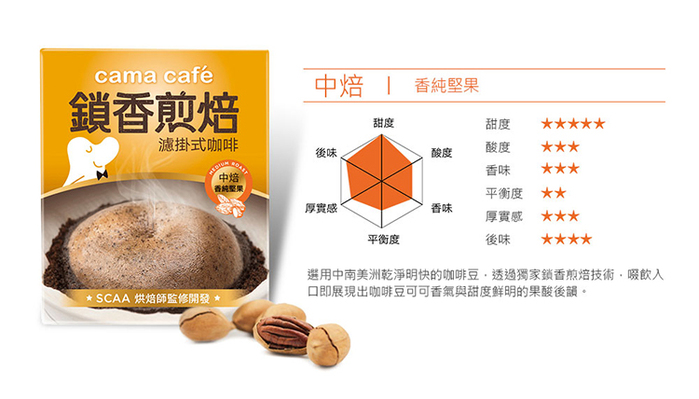(複製)cama cafe 鎖香煎焙濾掛式咖啡-醇厚焦糖(8gX6包)