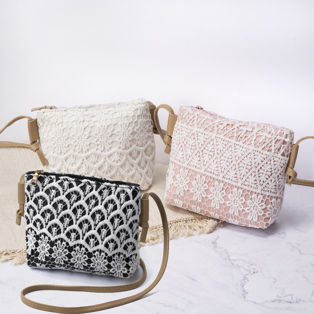 禾織 窗花設計側背皮革蕾絲隨身化妝包