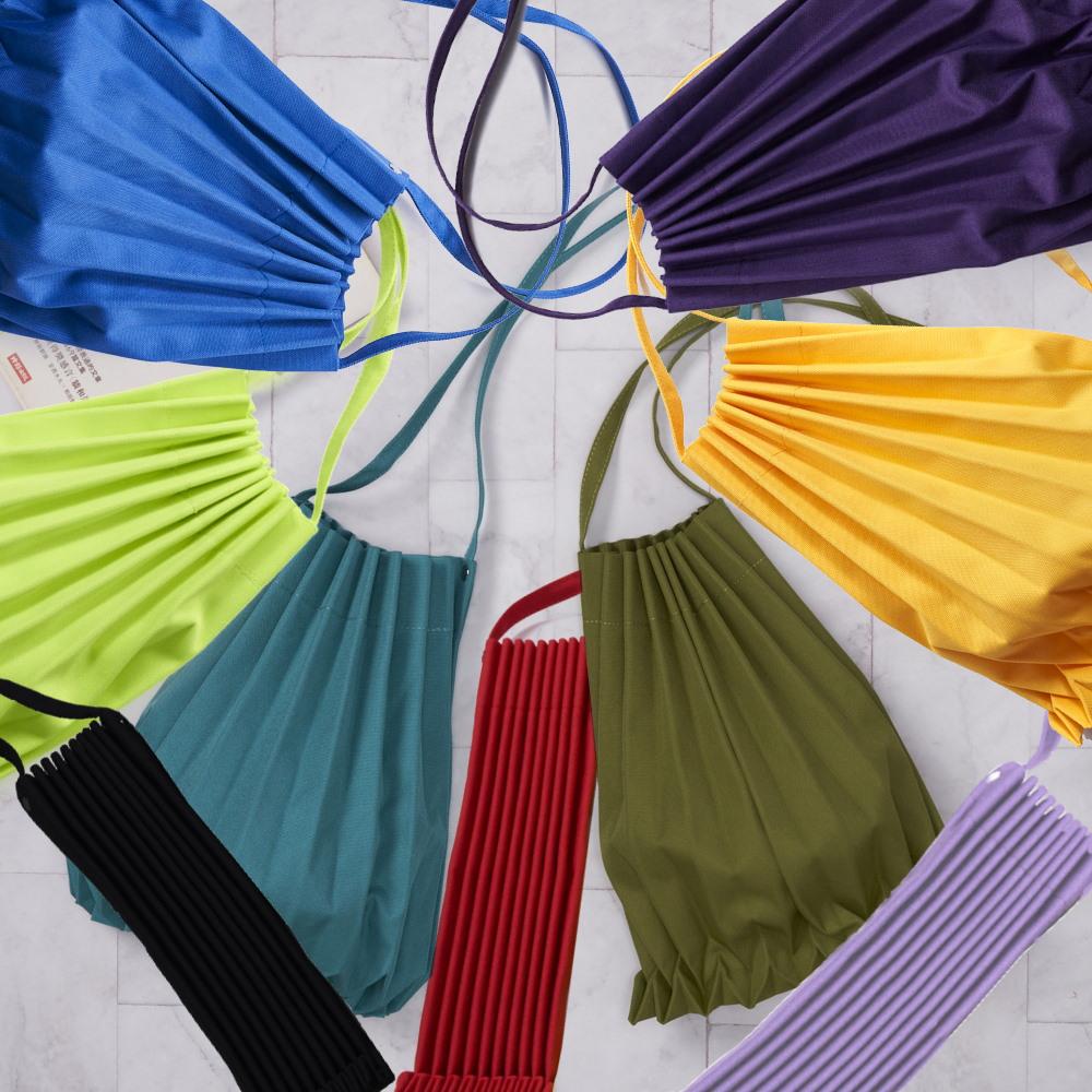 禾織|素面摺疊收納風琴側背包