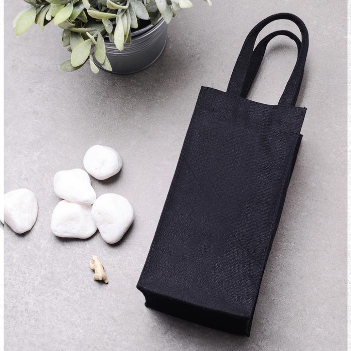 禾織|環保黑色帆布水壺收納提袋(正常版)
