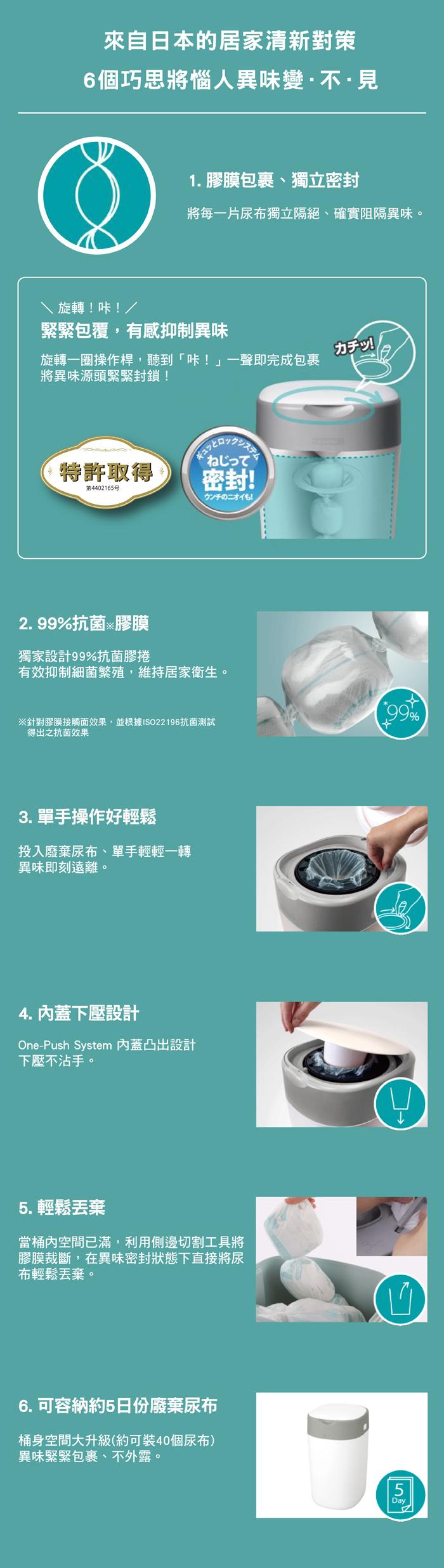 (複製)Combi|Poi-Tech Advance 尿布處理器(薄荷綠)+膠捲3入
