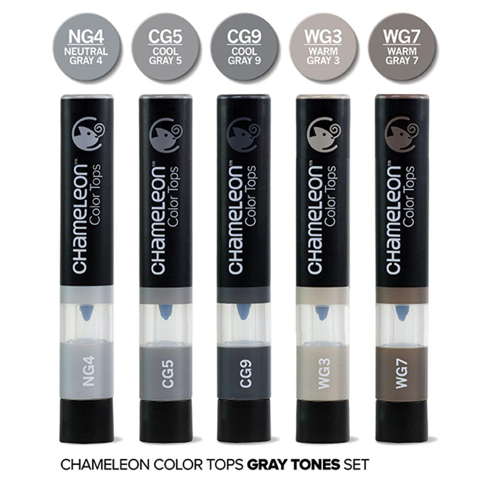 CHameLeon變色龍|麥克筆轉色蓋 5色組 灰階色