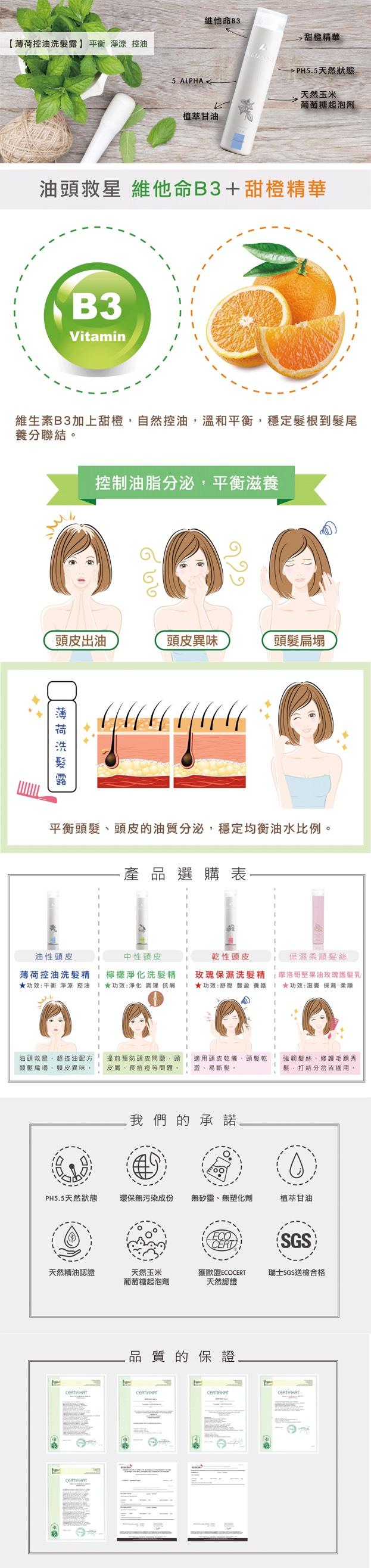 【LeMood】|精萃薄荷控油 洗髮露 (控油淨涼系列 ) - 300 ml